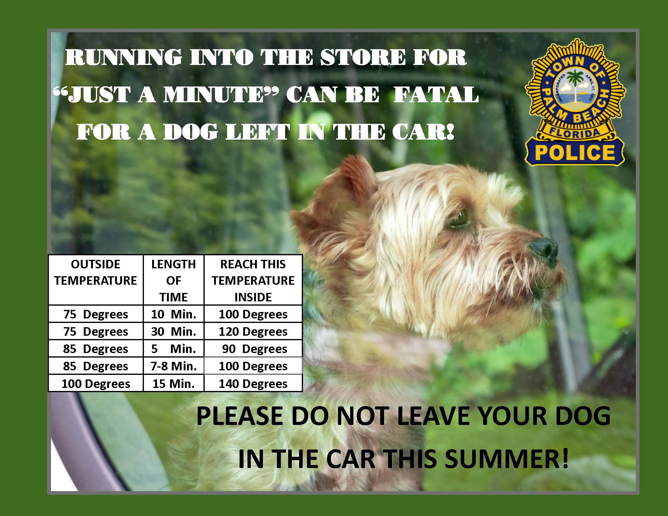 Dog in Car Warning Slide 2019